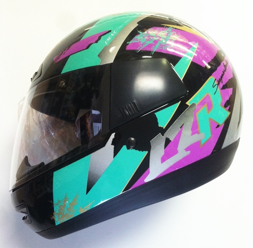 lazer helmet retro 90's neon colors